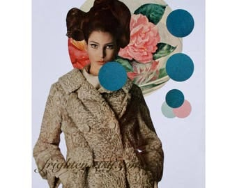 One of a Kind Paper Collage, 9 x 12 Inch Surreal Art, Beautiful Woman, OOaK Wall Decor, Floral Art, Geometric Circles