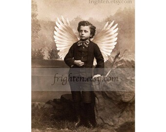 Victorian Boy with White Angel Wings Art Print, Unusual Wall Decor 8.5 x 11 Inch Sepia Collage Art Print