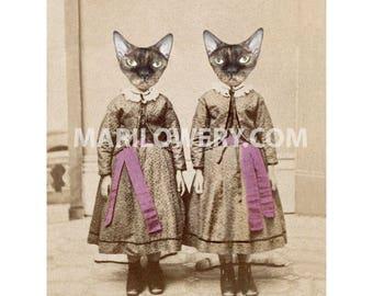 Devon Rex Cat Art Print, 5 x 7 Inch Print, Creepy Twin Sisters, Collage Print, Creepy Cute Art, Unusual Wall Decor, frighten