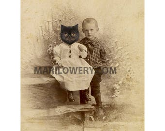 Black Cat Art Print, Persian Cat, Wall Art Print, Anthropomorphic, Animal in Clothes, Brother and Sister, 5x7 inch print, 8x10 inch print