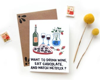 Anti-Valentine's Day Wine Chocolate and Netflix Card | Original Watercolor Anti V-Day Roses Chocolate Box Screw Valentines Funny Valentine