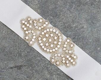 White Wedding Ribbon Sash Belt Grosgrain Rhinestone Embellishment Crystal Bling Handmade Bridal Bride Dress 218