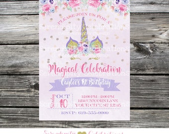 Unicorn Invitation, Unicorn horns, flower crown Birthday Invitation, Bridal Shower Invitation, Purple Gold Magical Unicorn watercolor flower