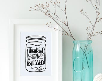Thankful SVG Grateful SVG Blessed SVG File Hand Drawn Digital Download Thanksgiving Mason Jar