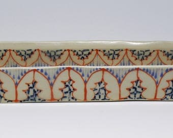 Handmade Ceramic Olive Boat with Orange, Sky Blue and Navy Pattern