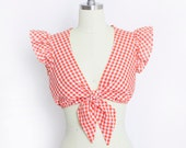 Vintage 1970s Crop Top - Red Gingham Printed Ruffle Tie Shirt - Small