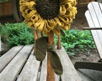 Primitive Hooked Rug Sunflower Make Do on Old Wooden Bobbin