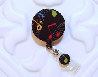 Music Retractable Badge Holder - Id Badge Holder - Badge Reel Retractable Lanyard - Name Badge Holder - Swivel Badge Clip Nurse Id Holder