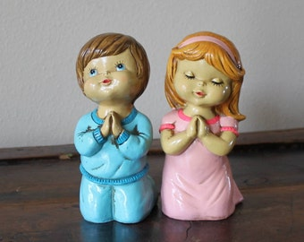 Vintage Praying Boy and Girl, Label Reads Hand Painted Star Made in Japan, Twins, Kids Praying, Say a prayer Figurines