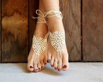 OSFA Crochet Barefoot Sandals Hippie Jewelry Festival Beach Summer Accessories Handmade Bohemian Sandals Gypsy Earthing Soleless Shoes Webs