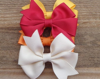 Set of 4 Fall/Autumn Hair Bows~Small Hair Bows~Boutique Hair Bows~Hair Bows~Small Boutique Bow~Boutique Bows~Fall Hair Bow~Fall Boutique Bow