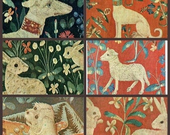 1960 Set Of 6 The Lady And The Unicorn Tapestry Detail Vintage Post Cards Postcards Dog Lamb Rabbits Needlework Paris Cluny Museum Souvenir