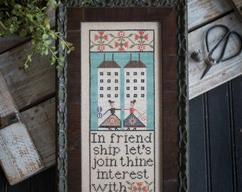 Pre-order 2018 Nashville Market PLUM STREET SAMPLERS Soul Sisters counted cross stitch patterns at cottageneedle.com Mother's Day Daughter