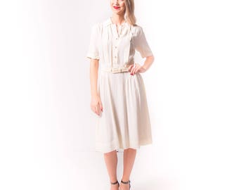 1940's Cream Rayon Day Dress/ 40's Pleated Dress Medium
