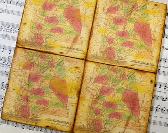 Alabama Historical Map Coasters Circa 1823 Wood Tiles Antiqued Map Gift Set of 4 History and Map Lovers Gifts for Him