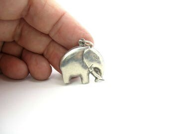 Elephant Charm Pendant. Modern Sterling Silver. Good Luck Animal Charm. Puffy Styling. Vintage 1970s Retro Jewelry
