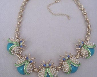 Unique Turquoise and Pearl Winged Elaborate n Intricate Lady Bug Stud Necklace