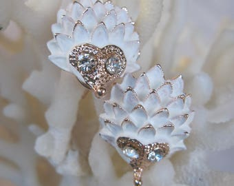 White Hedgehog Earrings with Sparkling Eyes