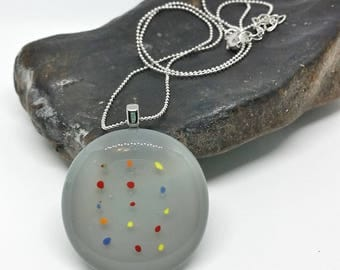 Rainbow Polka Dots Glass Pendant with Silver Chain