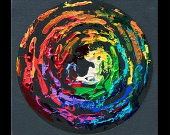 Imprint 20, Original colorful square spectrum rainbow painting pop art, NYC artist