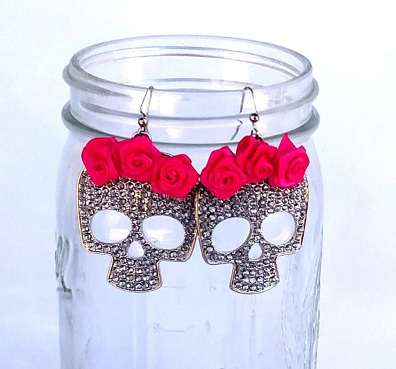 Pave Rhinestone Skull Earrings with Hot Pink Satin Rosettes - Day of The Dead Halloween Jewelry