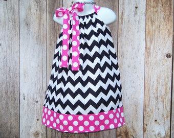 CHEVRON Pillowcase Dress / Pink + Black / Minnie Mouse / Disney / Sundress  / Newborn / Infant / Baby / Girl / Toddler / Custom Boutique