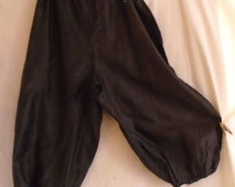 Edwardian Bloomers Black Polished Cotton Antique Lingerie AS IS