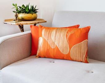 "Orange Kimono Cushion, Vintage Silk Vibrant Accent Pillow, Pine MATSU Gold Embroidery Upcycled Japanese OBI, 12""x18"" Rectangular Ltd Ed ECO"
