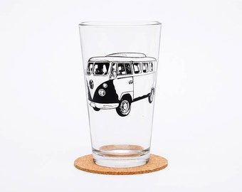 VW Bus Pint Glass - Volkswagen - Glassware  - Beer Glass - Barware - Screen Printed - Made in USA - Bus - Retro - Gift for Him
