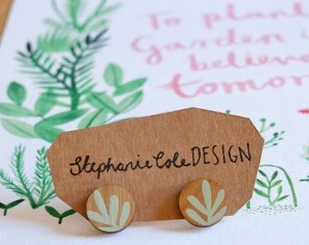 Wooden Sprig Leaf Round Stud Earrings - Mint Green on Walnut, Stirling Silver Plated