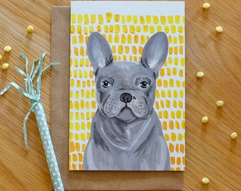 Illustrated Frenchie - Grey and Yellow French Bulldog Card