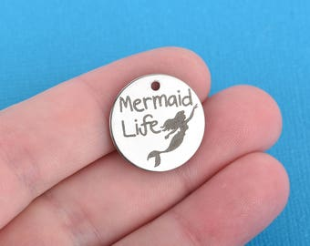 """MERMAID Charms, Stainless Steel Quote Charms, Mermaid Life Charms, 20mm (3/4""""), choose quantity, cls0170"""