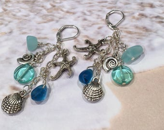 Sea Glass Starfish Earrings, Dangle Earrings, Beach Jewelry, Starfish Earrings, Ocean Jewelry, Sea Glass Jewelry, Sea Glass Earrings