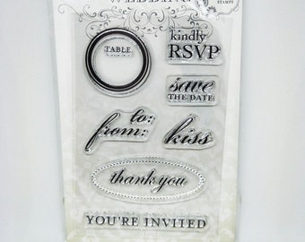 7 pcs Clear Stamps Wedding Invitations, kindly RSVP stamp, save the date stamp, thank you stamp, kiss