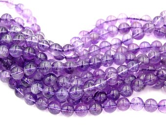 Amethyst Beads, 8mm undyed, natural AB+ round beads  -15.75 inch strand