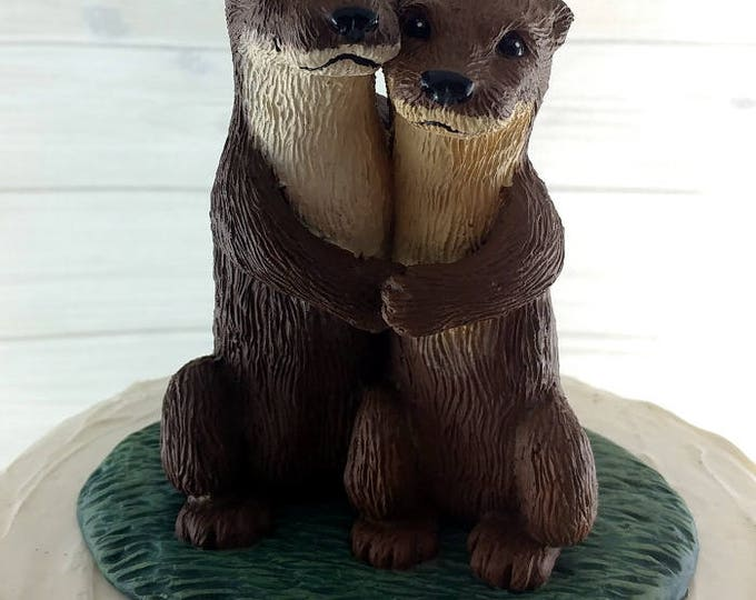 Realistic Otters Wedding Cake Topper