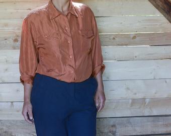 Brown Silk Shirt Women's Vintage 70's silk shirt