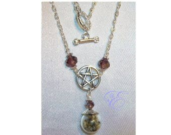 Miniature Witch Ball / Pentacle  Necklace - Amethyst Crystal Beads