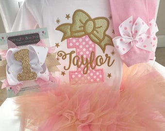 Twinkle Twinkle Little Star Birthday Outfit pink and gold star bodysuit, leg warmers, tutu, and bow headband in pink and gold