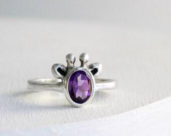 Purple Giraffe Ring, Amethyst and Sterling Silver, Giraffe Fine Jewelry,MADE TO ORDER
