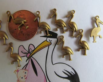 20 Baby Stork Charms With Hoop **Expecting ?*** Tiny  Vintage Stork -Crane- Pelican With Hoops