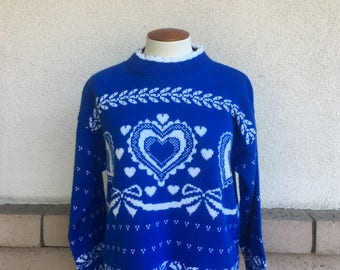 Blue Heart Sweater 80s Slouchy Ribbon Pullover Turtleneck Medium Large