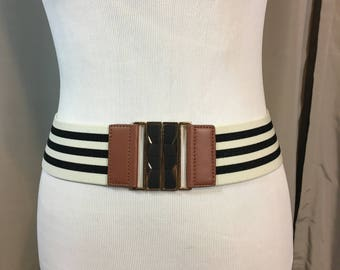 Vintage Black and White Stretch Belt with Faux Brown Leather Trim and Gold and Black Metal Belt Buckle, Cinch Belt, Ladies Medium