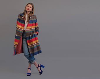 60s Mod Striped Coat / Multi-Color Striped Coat / Spring Coat / Colorful Coat Δ size: S/M/L