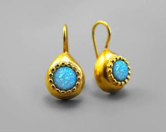 Opal earrings, Opal Gold Earrings, Blue Drop Gold Opal Earrings, Opal Jewelry, Fire Opal Gold Earrings, Gift For Woman, Birthstone Earrings