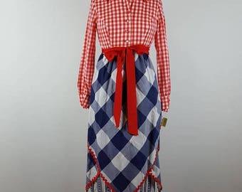CLEARANCE SALE patriotic | vintage 1970s maxi hostess dress | vtg 70s maxidress | picnic | red white blue | medium/m