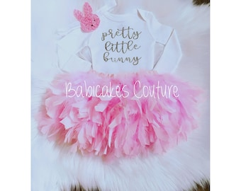 Babys 1st Easter, Newborn Easter Bunny Outfit, Baby Bunny Outfit, Easter Feather Tutu, Easter Photo Outfit Pink & Silver Easter Bunny Outfit