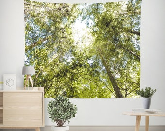 Trees Wall Tapestry, Forest Decor, Nature Wall Tapestry, Forest Wall Tapestry, Green Coast, Green Tapestry, Pine Trees, Forest Canopy