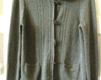 Ann Taylor Hoodie Cardigan Sweater M, Merino Wool, Cashmere, Zip Front