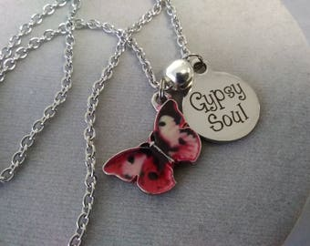 Gypsy Soul Red Butterfly Necklace